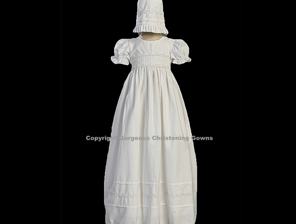 Smocked Cotton\' Smocked Bodice Cotton Long Christening Gown
