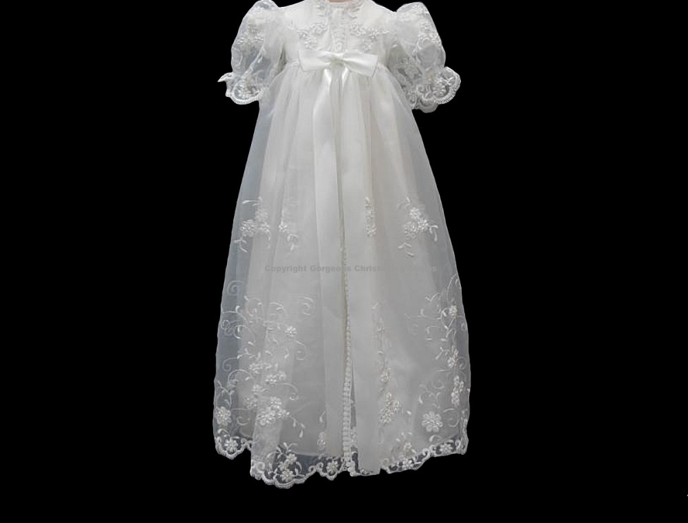 Hazel\' Antique Heirloom Embroidered Christening Gown w/ Pearls