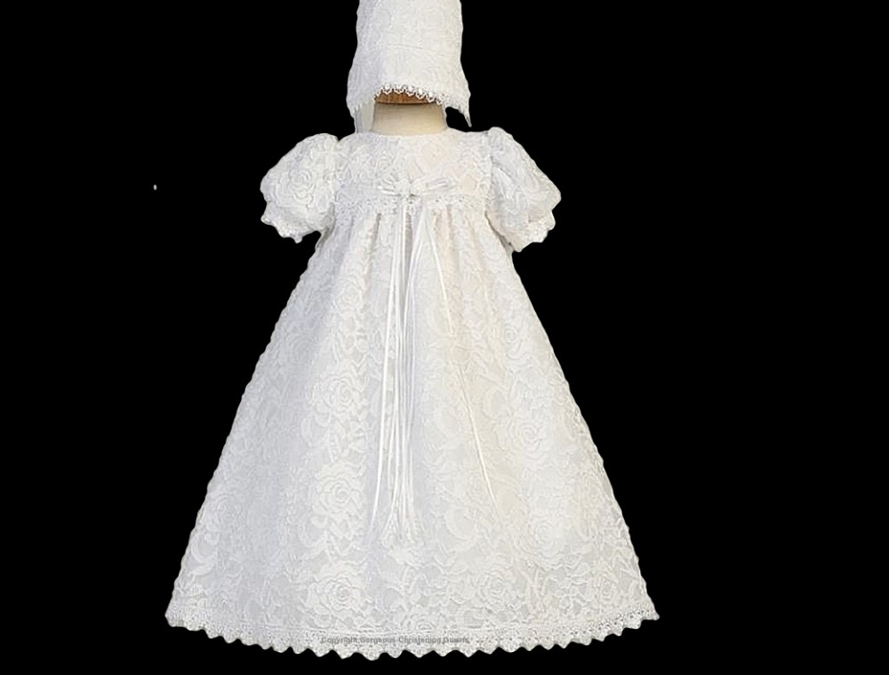 Lace victorian vintage inspired christening gown for Making baptism dress from wedding gown